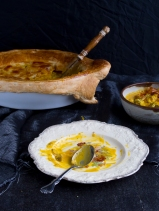 Creamy squash soup, leeks and broccoli pie